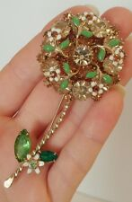 "3 3/8"" WEISS Signed Prong Set Rhinestone Flower Stem Brooch Pin Wedding"