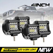"Tri-Row 4X 4"" LED Work Light Bar Offroad Spot Flood Fog Driving Lamps 12V ZM7"