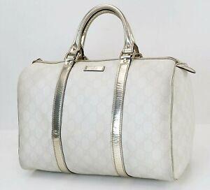 Auth GUCCI Off White GG PVC Canvas Golden Leather Boston Hand Bag Purse #40186