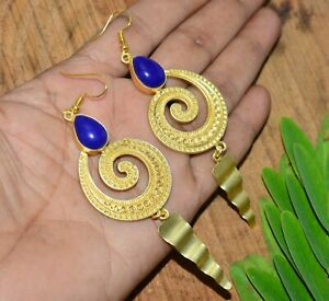 925 SILVER PLATED 24CT GOLD OVERLAY BLUE LAPIS LAZULI HOOK EARRING k141