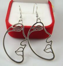 925 Silver Plated Hook -3.2'' face Oil Painted Cocktail Lady Earring dG1c