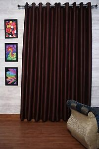 """Chocolate Brown Faux Silk Curtains, 51"""" (130 cm) Wide,Chose Top, Length & Lining"""