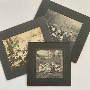 Antique Cabinet Card Group Photo Outdoor Party Picnic Man Woman Middletown CT