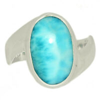 Larimar - Dominican Republic 925 Sterling Silver Ring Jewelry s.9 LRIR2129