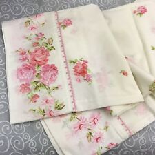 Set of 2 Vintage Penn-Prest Muslin Floral PillowCases White Pink Flowers