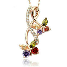 "Colourful rose gold finish butterfly pendant 18"" necklace quality jewellery UK"