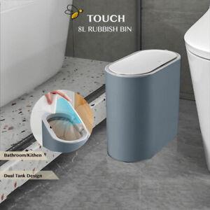 8L Bathroom Trash Bin Can Kitchen Office Rubbish Bins Press Open Modern Clean
