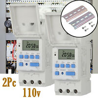 110V AC Digital LCD Programmable Weekly Timer Time Switch 16A 1760W White 2-Pack