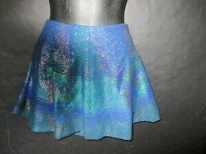 PROENZA SCHOULER blue green silvery mini circle skirt w sparkles Size Small