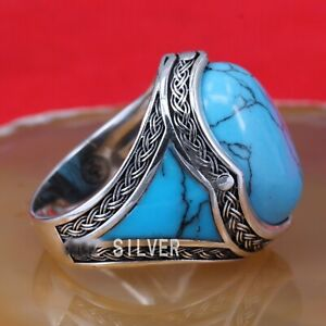 SOLID 925 STERLING SILVER MENS JEWELRY CABOCHON BLUE TURQUOISE MEN'S RING