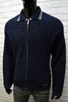 LEVI'S Uomo M Cardigan Felpa Maglione Lana Blu Maglia Pullover Felpa Sweater