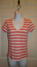 Banana Republic Pink Striped Stretch Tee Size Small
