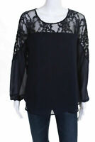 Daniel Rainn Womens Long Sleeve Top Blouse Navy Blue Lace Trim Size Small