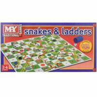 New Traditional Snakes & Ladders Childrens Kids Family Board Games Table Top