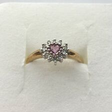 9ct Yellow Gold Pink Sapphire Heart Cluster Ring With Diamonds Size O