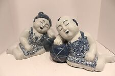 Unique Pair of Blue and White Porcelain Sleeping Boy and Girl Thailand