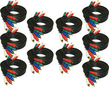 10 COMPONENT RG59 VIDEO CABLES WITH AUDIO 12FT Thick heavy duty cords HD TV DVD
