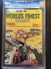 WORLD'S FINEST COMICS #72 CGC FN+ 6.5; OW-W; scarce; 2nd Batman/Superman team!