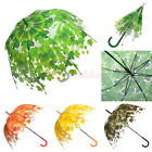 Stick Hook Handle Clear Transparent Dome Autumn Maple Leaf Rain Umbrella Parasol