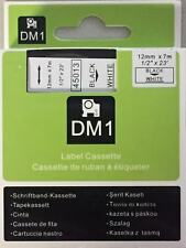 """1 Dymo COMPATIBLE D1 Labels Black On White Labeling Tape 45013 1/2"""" X 23'"""