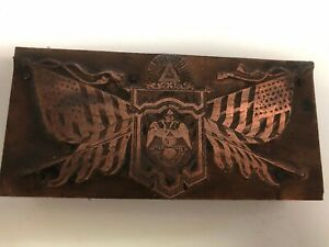 Copper Lodge Printer Type Block w/ Flags and Double Eagle with Banner ~ PB83