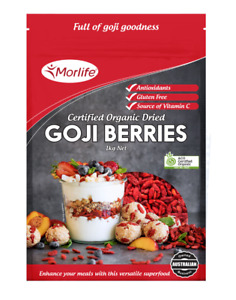Morlife Goji Berries 1KG Cert Organic | Superfood | Antioxidants | Wolfberries