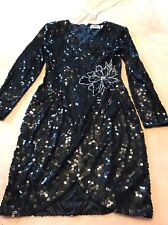 Nite Line Size 10 Black Sequence Dress White Bead Design Flower