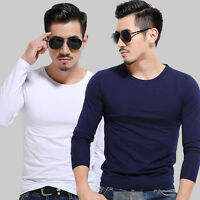 Men Fashion Slim Fit Cotton Round Neck Long Sleeve Casual T-Shirt Top Pullover