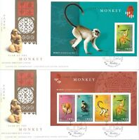 """Hong Kong China 2004 Year of the Monkey Sheetlets x 2 with """"Special"""" cds FDC"""