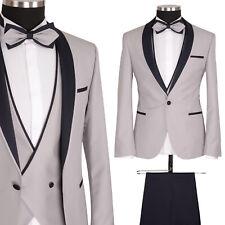 Designer Smoking Herren Anzug Hochzeitsanzug Bräutigam Hell Grau Slim Fit NEU