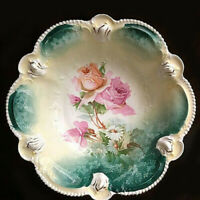 Antique RS PRUSSIA Porcelain Bowl Red Star Mark Mold 207 Roses & Daisies Floral