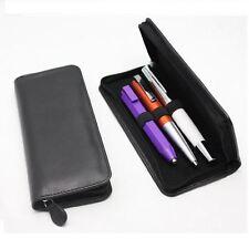 Mayfair Deluxe Zip Leather Pen Case Black Triple/ Parker Lamy Montblanc Kaweco