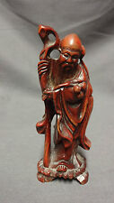 "Antique 5"" Chinese Root Wood Carving Of A Man Holding A Staff"