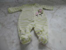 NB Baby Girl Pink Green Terry Floral Daisy Bow Footed Sleeper