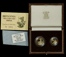 1987 Britannia 2 Coin Proof Set - .35 ozt Gold - Royal Mint OGP - Lot#X390