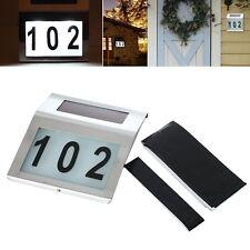 Stainless Solar Powered LED Light House Number Door Sign Street Address Lamp