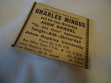 Charles Mingus - concert Johns Hopkins BALTIMORE MD  - 1962 newsprint ad