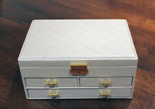 LARGE CREAM FAUX LEATHER JEWELLERY STORAGE BOX CASE CHEST DRAWERS