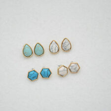 Gold Plated Turquoise Hexagon Drop Stud Earrings EH1129
