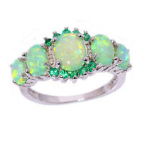 Women Lady Green Fire Opal & Emerald Jewelry Charm Gems Silver Ring Size 7/8/9