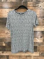 Audrey 3+1 Women's Black Heathered Ribbed Knit Short Sleeve Thin Tunic Top