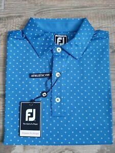 NEW FootJoy Mens Lisle Diamond Print Golf Polo Medium Blue Marlin/White 25724