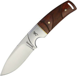 Browning Cocobolo Wood Handle Stainless Fixed Blade Knife + Leather Sheath 0229