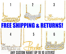 Personalized 14K Gold Plated ANY Name Plate Pendant Necklace + Free Chain NEW