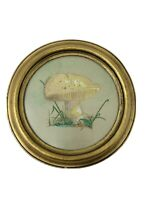 Vtg 70's Round Gold Frame Mushroom Watercolor Painting