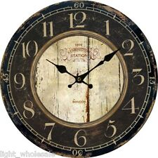 Large Retro Euro Wall Clock Country Antique Wood Home Decor Vintage Style New