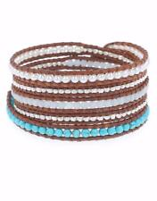 Chan Luu Turquoise Mix Wrap Bracelet On Natural Brown Leather