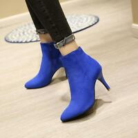 Party Womens Chic Ankle Boots High Heels Pointy Toe Stilettos Zipper Shoes Pumps