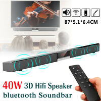 40W bluetooth Barra de Sonido Altavoz Inalámbrico Home Theater TV 3D Estéreo *