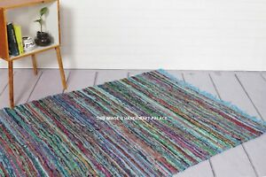 LARGE CHINDI RAG RUG HAND LOOMED INDIAN FAIR TRADE RECYCLED WOVEN MAT 4*6 FT RUG
